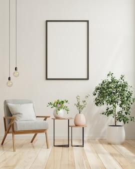 Manifesto in bianco nel design degli interni del soggiorno moderno con parete vuota bianca