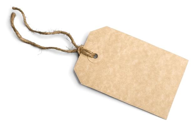 Etichetta del prezzo vuota isolata su bianco