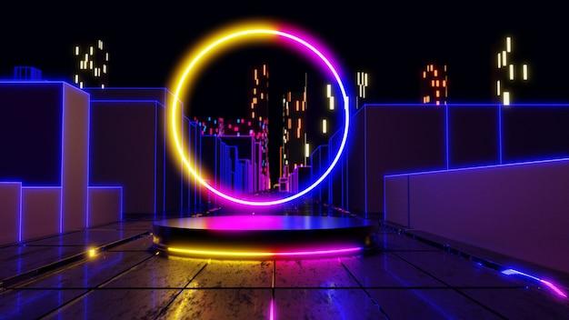 Supporto prodotto vuoto con luci al neon sul paesaggio della città sifi. rendering 3d.