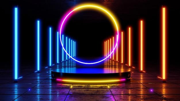 Supporto prodotto vuoto con luci al neon sul paesaggio sifi. rendering 3d.