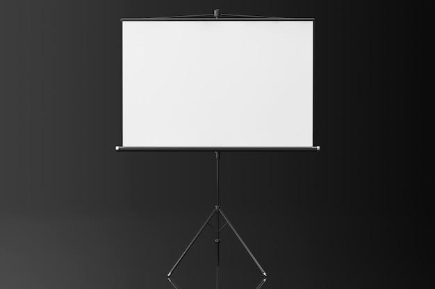 Schermo di proiezione vuoto su sfondo nero