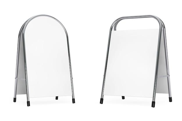 La pubblicità di mostra di promozione in bianco si leva in piedi su un fondo bianco. rendering 3d