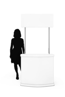 Supporto vuoto di promozione con la siluetta della donna su un fondo bianco. rendering 3d.