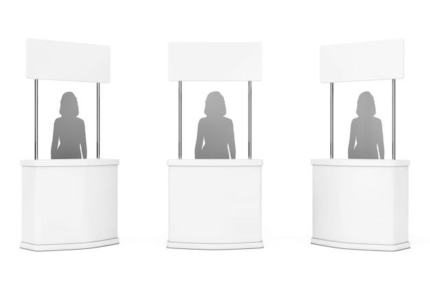 La promozione in bianco sta con la siluetta della donna su una priorità bassa bianca. rendering 3d.