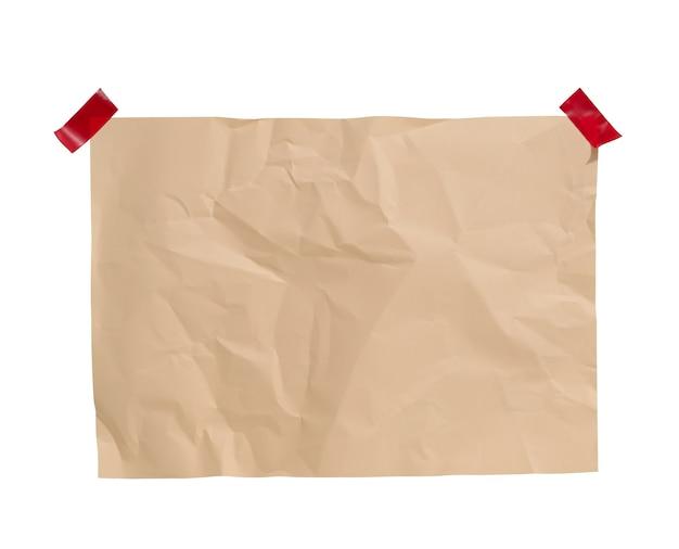 Foglio di carta beige sgualcito rettangolare vuoto incollato. posto per un'iscrizione, annuncio