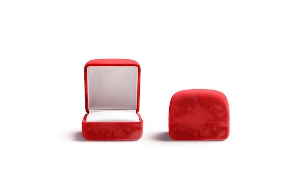 Scatole ad anello aperte e chiuse rosse in bianco