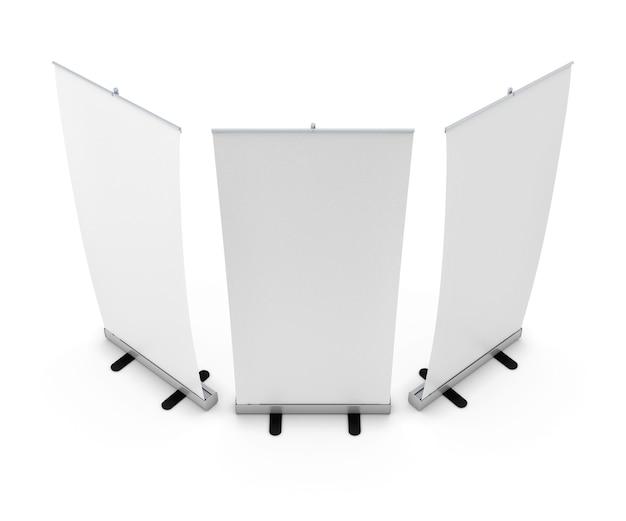 Modello di visualizzazione banner roll up vuoto. illustrazione 3d.