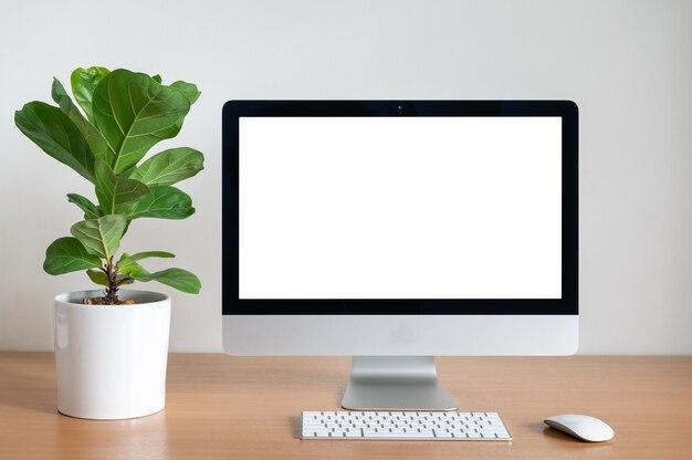 Schermo vuoto del computer desktop con vaso di fico fiddle sul tavolo di legno