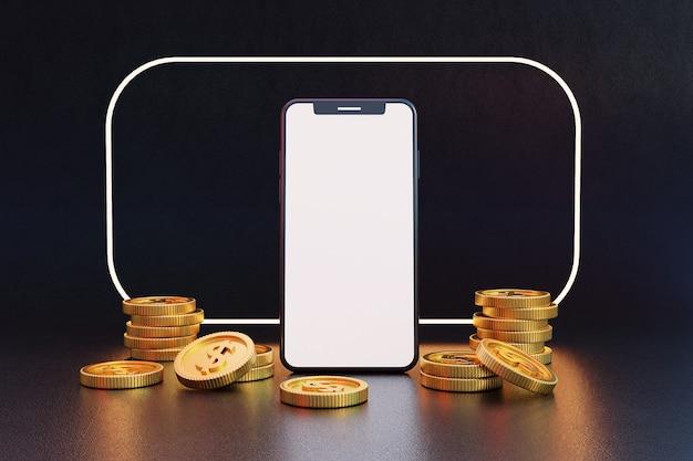 Cellulare con schermo vuoto con monete d'oro. rendering 3d.