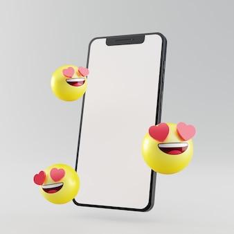 Smartphone con schermo vuoto con icona di social media emoji rendering 3d