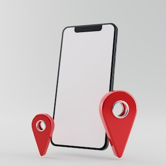 Smartphone con schermo vuoto con puntatore rosso icona mappa 3d rendering