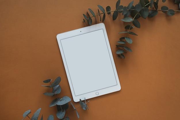 Pad tablet schermo vuoto con copia spazio vuoto, ramo di eucalipto secco su rosso intenso