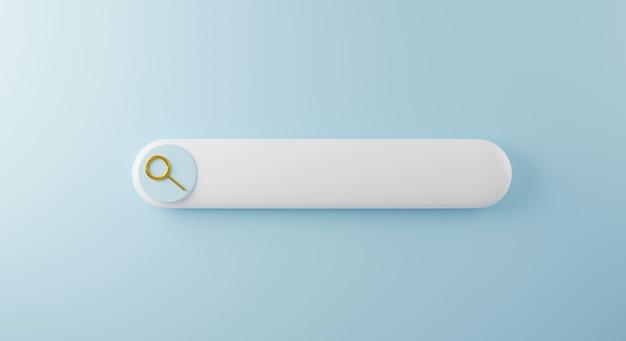 Pulsante barra di ricerca vuota con illustrazione di rendering 3d della lente d'ingrandimento