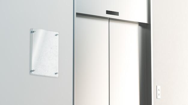 Segnaletica in bianco vicino all'ascensore chiuso nell'interno del pavimento dell'ufficio, vista laterale, rendering 3d.
