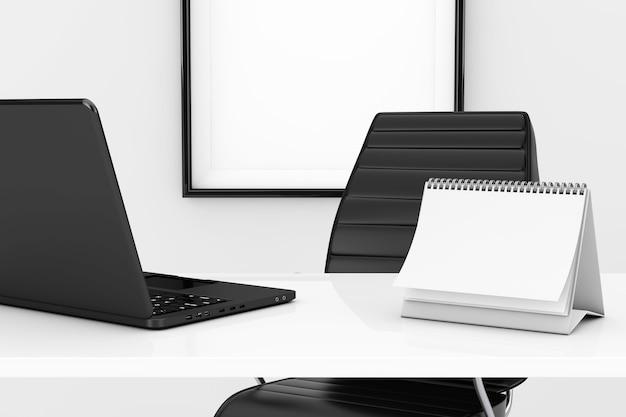 Calendario a spirale vuoto e computer portatile sul tavolo davanti al primo piano estremo della sedia da ufficio in pelle nera. rendering 3d