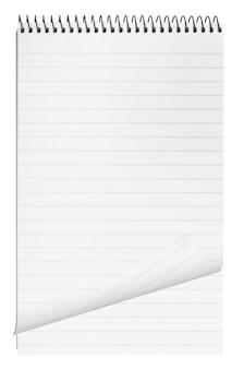 Superficie vuota. quaderno a spirale di carta isolato su bianco
