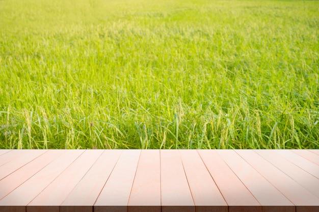 Prospettiva in legno tavolo bianco con spighe verdi di riso. alimento base per i thailandesi. coltivare è un moderno concetto di agricoltura biologica.