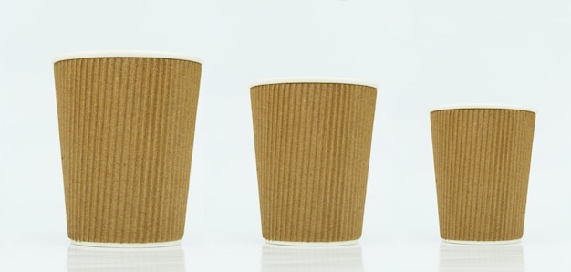 Tazze da caffè da asporto vuote, diverse dimensioni
