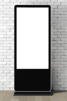 Supporto per schermo lcd vuoto per fiere come modello per il tuo design davanti a un muro di mattoni. rendering 3d.