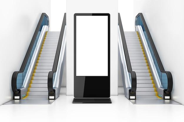 Supporto per schermo lcd vuoto della fiera commerciale come modello per il tuo design tra scale mobili di lusso moderne sul centro commerciale, aeroporto o stazione della metropolitana dell'interno primo piano estremo. rendering 3d