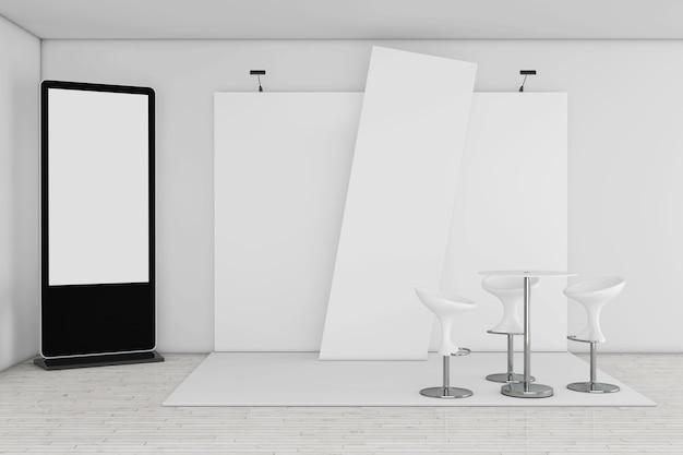 Supporto per schermo lcd vuoto della fiera commerciale come modello per il tuo design vicino al primo piano estremo dello stand fieristico commerciale commerciale. rendering 3d