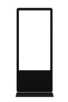 Supporto per schermo lcd vuoto per fiere come modello per il tuo design su sfondo bianco. rendering 3d.