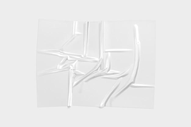 Sovrapposizione di pellicola di plastica trasparente vuota mock up involucro polimerico vuoto con mockup di rughe