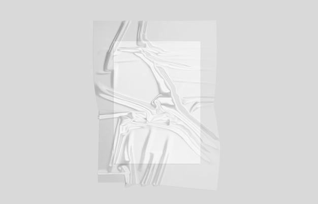 Foglio di plastica trasparente vuoto involucro di carta sovrapposta mockup foglio di involucro di cellophane vuoto mock up