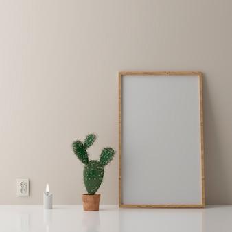 Vuoto verticale poster frame mock up in piedi sul pavimento beige. un telaio in legno isolato in interni scandinavi. rendering 3d