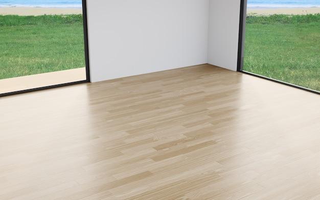 Muro bianco sul pavimento di un ampio soggiorno in casa o in un hotel di lusso con vista sulla spiaggia e sul mare
