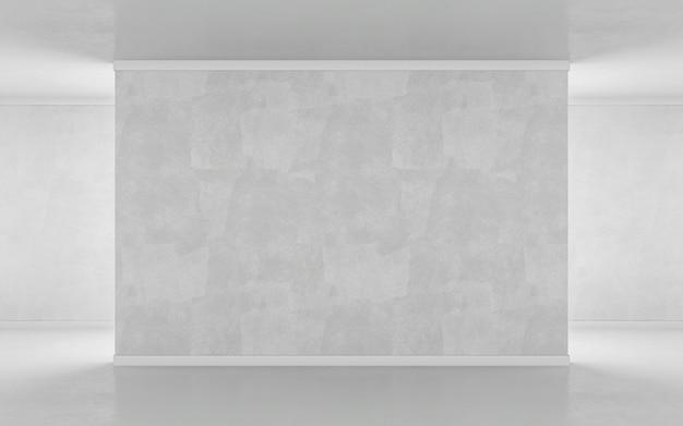 Muro bianco nel mockup della galleria. rendering 3d
