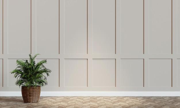 Modello di muro bianco con rendering 3d di piante