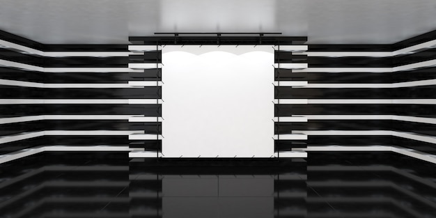 Striscione bianco vuoto al centro della sala illuminata vuota con lampade a led sulle pareti e pavimento lucido