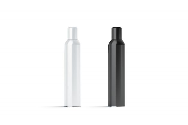 Bottiglia di lacca per capelli chiusa bianca e nera in bianco