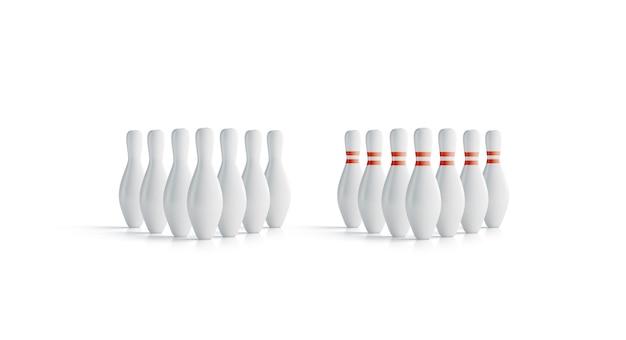 Birilli da bowling bianchi vuoti impostare finto, vista frontale