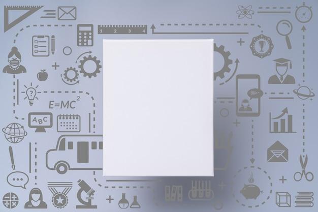 Cornice in tela bianca vuota sul design infografico dell'icona di scuola