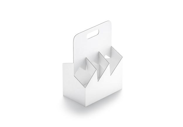 Mockup portabottiglie in cartone bianco vuoto confezione da sei in carta da asporto vuota per mock up di alcol
