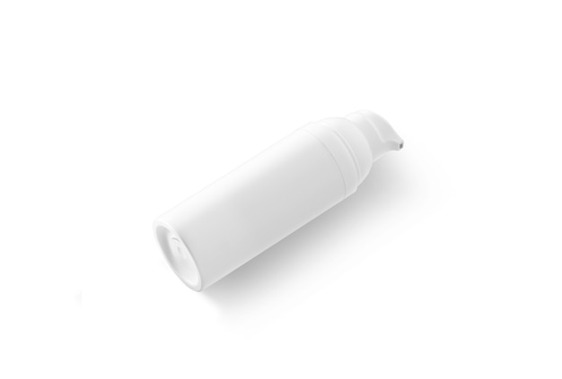 Bottiglia di crema bianca in bianco che si trova, vista laterale