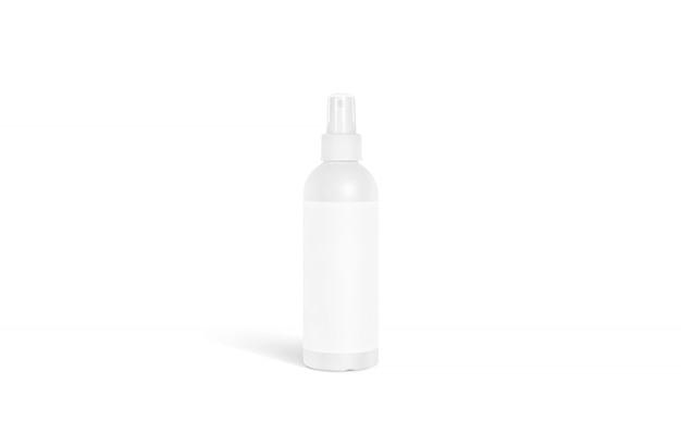 Supporto bianco in bianco della bottiglia del deodorante isolato