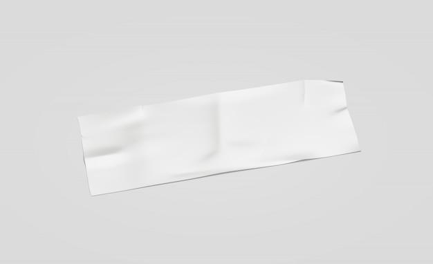 Modello attaccato pezzo grosso bianco in bianco del nastro adesivo, isolato