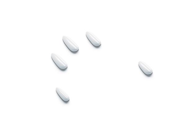 Unghie finte bianche vuote mockup set simulazione del braccio unghie artificiali di plastica vuote mock up