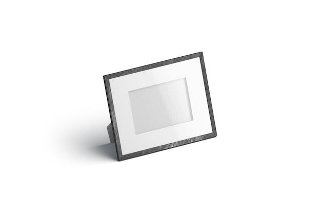 Cornice per foto orizzontale da tavolo bianca vuota, isolata,
