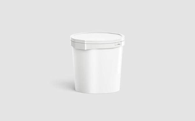 Secchio di gelato bianco vuoto, mezza vista frontale