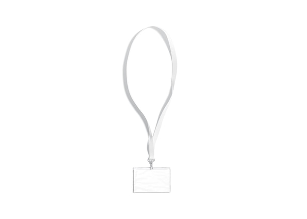 Cordino bianco vuoto con carta di nome mock up isolato targhetta orizzontale vuota su mockup portacorda