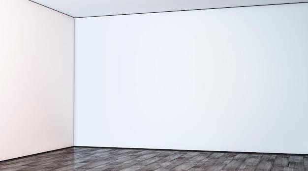 Angolo della parete della grande galleria bianca vuota nel mockup della hall angolo della sala vuota e pavimento nella lobby mock up