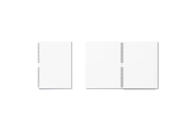 Vuoto bianco aperto e chiuso taccuino mockup isolato blocknote vuoto mock up per la scuola o l'ufficio
