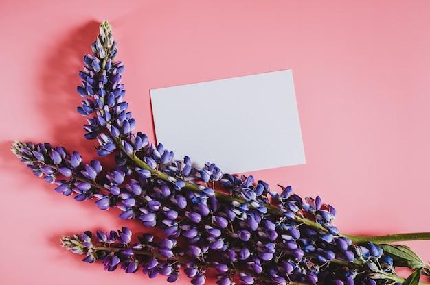 Mockup di nota carta carta bianca vuota per testo con cornice fatta di fiori lupino in colore blu lilla in piena fioritura su uno sfondo rosa piatto laici. spazio per il testo