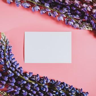Cornice bianca vuota nota di carta fatta di fiori di lupino in colore blu lilla in piena fioritura su una parete rosa. laici piatta.