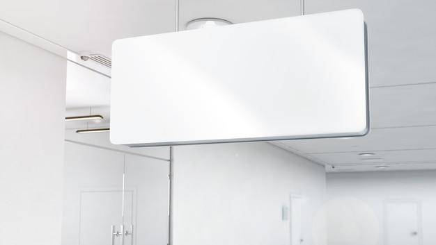 Mockup di segnaletica in plastica bianca vuota, montato in alto