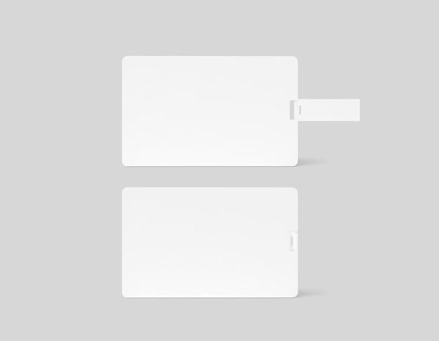Scheda usb wafer in plastica bianca vuota, vista laterale posteriore